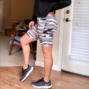 Trendy boutique Shorts - Winter white & gray camo biker shorts & bralette
